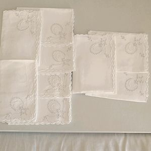 Vintage Nine White Embroidered Napkins